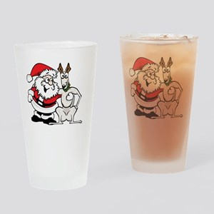 SantaGrey_10x10_small Drinking Glass