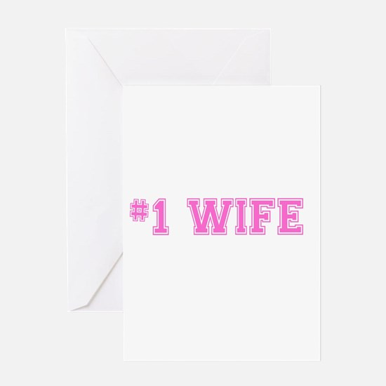 #1 Wife pink Greeting Cards