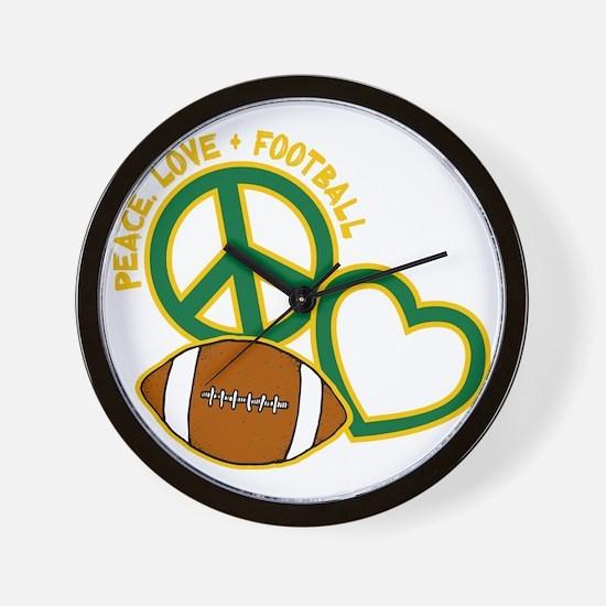 greenyellow, Peace, Love, Football Wall Clock