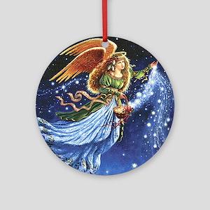 Angel Star Basket_Tile Round Ornament