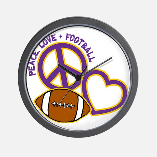 purple yellow, Peace, Love, Football Wall Clock