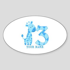 Blue Giraffe 3rd Birthday Personalized Sticker (Ov