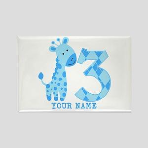 Blue Giraffe 3rd Birthday Personalized Rectangle M
