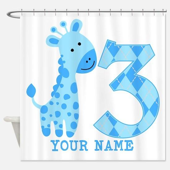 Blue Giraffe 3rd Birthday Personalized Shower Curt