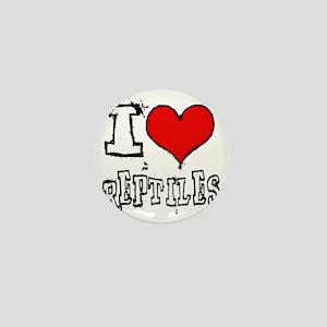 i heart reptiles white lettering Mini Button