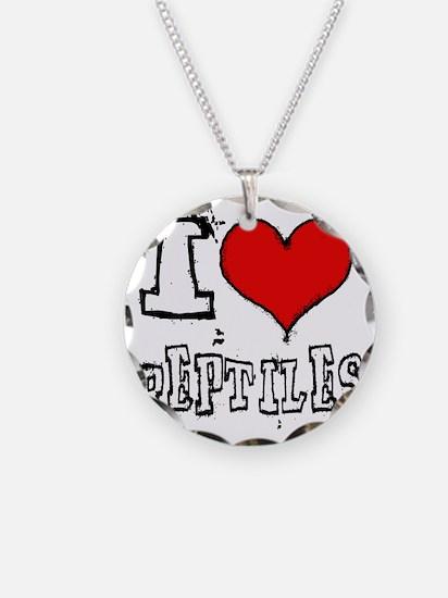 i heart reptiles white lette Necklace