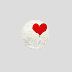 i heart reptiles white outline Mini Button