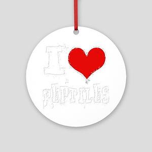 i heart reptiles white outline Round Ornament
