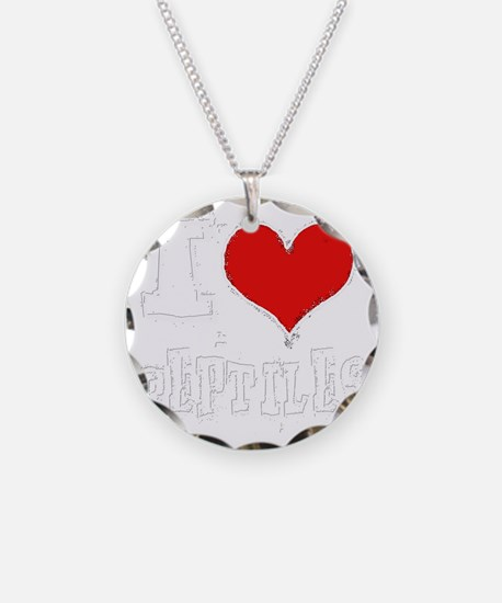 i heart reptiles white outli Necklace
