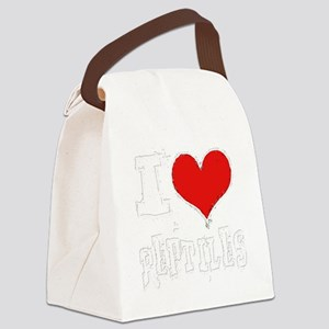 i heart reptiles white outline Canvas Lunch Bag