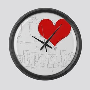 i heart reptiles white outline Large Wall Clock