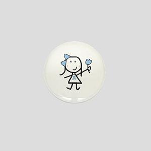 Girl & Lt Blue Ribbon Mini Button