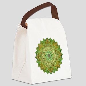 Green Gold Heart Chakra Mandala Y Canvas Lunch Bag