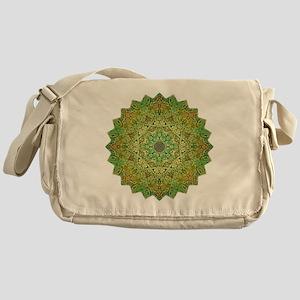 Green Gold Heart Chakra Mandala Yoga Messenger Bag
