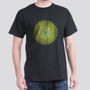 Green Gold Heart Chakra Mandala Yoga  Dark T-Shirt