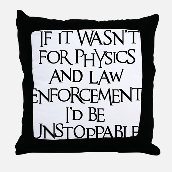 black, Unstoppable Throw Pillow