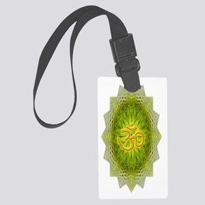 Green Yellow Om Water Bottle Large Luggage Tag