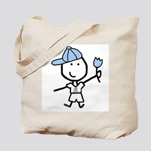 Boy & Lt Blue Ribbon Tote Bag