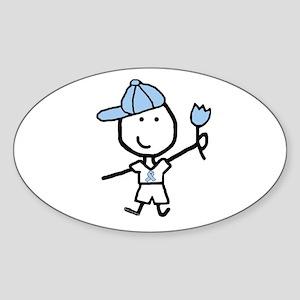 Boy & Lt Blue Ribbon Oval Sticker