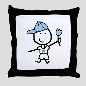 Boy & Lt Blue Ribbon Throw Pillow