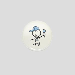 Boy & Lt Blue Ribbon Mini Button