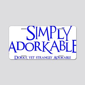 blue, Simply Adorkable Aluminum License Plate