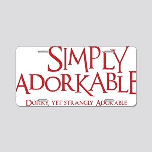 red, Simply Adorkable Aluminum License Plate