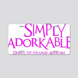 pink, Simply Adorkable Aluminum License Plate
