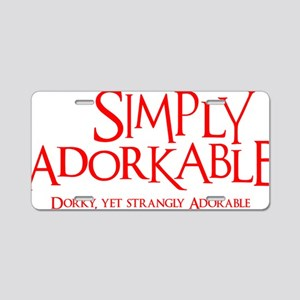 neon red, Simply Adorkable Aluminum License Plate