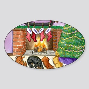 fireplacedogsCP Sticker (Oval)