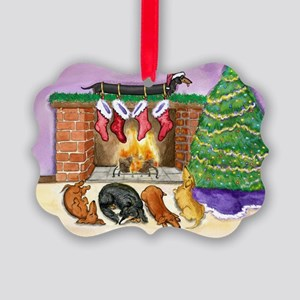 fireplacedogsCP Picture Ornament