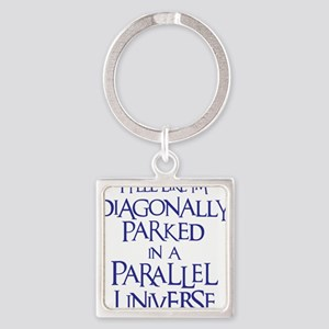 blue, Diagonally Parked Square Keychain
