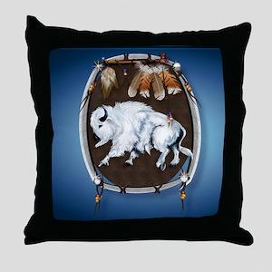 Mouse Pad White Buffalo Shield -brlue Throw Pillow