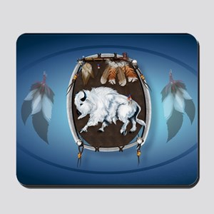 oval_sticker White Buffalo Shield-blue Mousepad