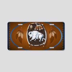 oval_sticker White Buffalo  Aluminum License Plate