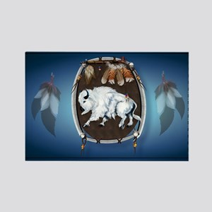 sticker White Buffalo Shield-blue Rectangle Magnet