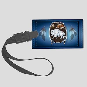 sticker White Buffalo Shield-blu Large Luggage Tag