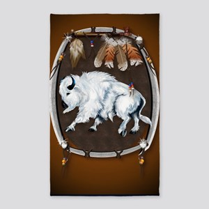 Large PosterWhite Buffalo Shield -b 3'x5' Area Rug