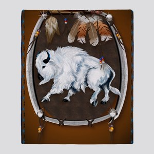 Large PosterWhite Buffalo Shield -br Throw Blanket