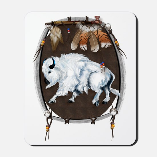 White Buffalo Shield Trans Mousepad