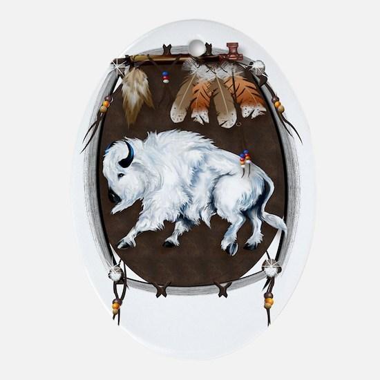 White Buffalo Shield Trans Oval Ornament