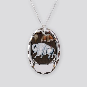 White Buffalo Shield Trans Necklace Oval Charm