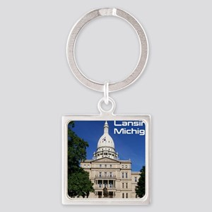Lansing MI Cover Square Keychain
