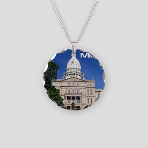 Lansing MI Cover Necklace Circle Charm