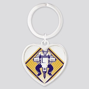 Construction Worker Drilling with J Heart Keychain