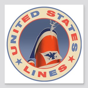 "United states Lines cust Square Car Magnet 3"" x 3"""