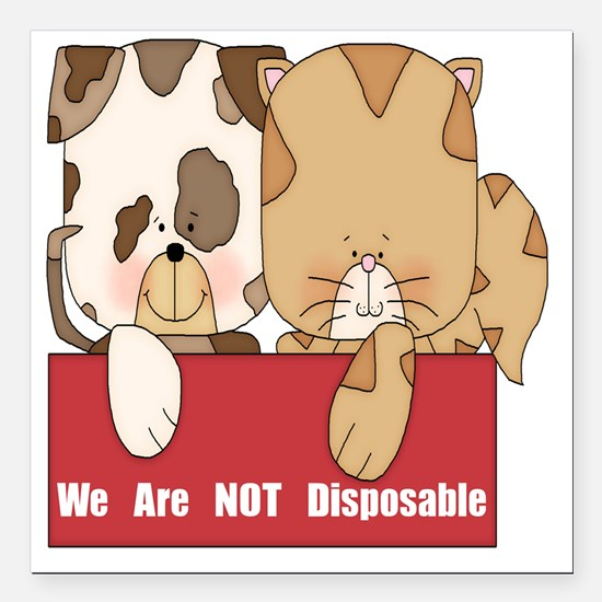 "we are not disposable-00 Square Car Magnet 3"" x 3"""