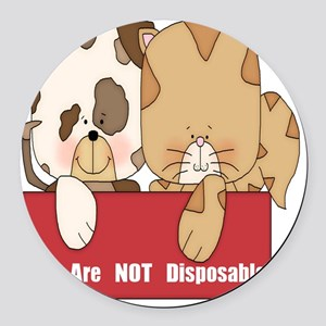 we are not disposable-001 Round Car Magnet