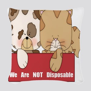 we are not disposable-001 Woven Throw Pillow