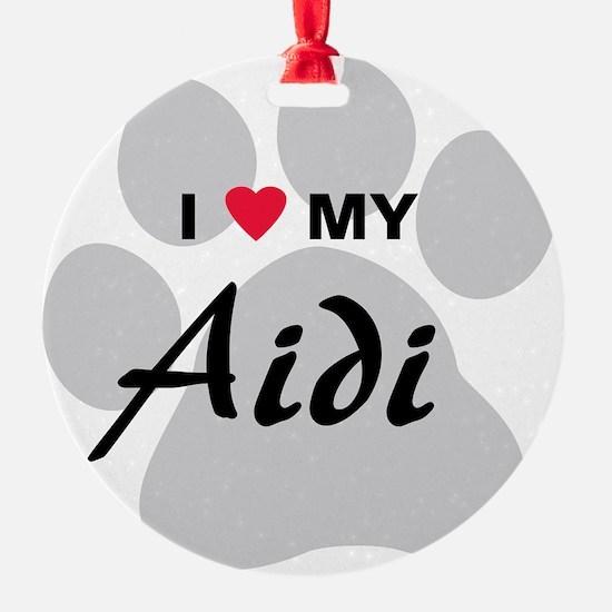 I Love My Aidi Ornament